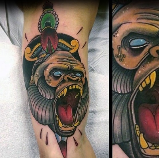 Mens Cool Neo Traditional Gorilla Tattoo Ideas