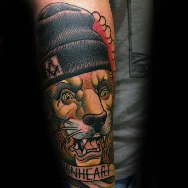 Mens Cool Neo Traditional Lion Tattoo Ideas