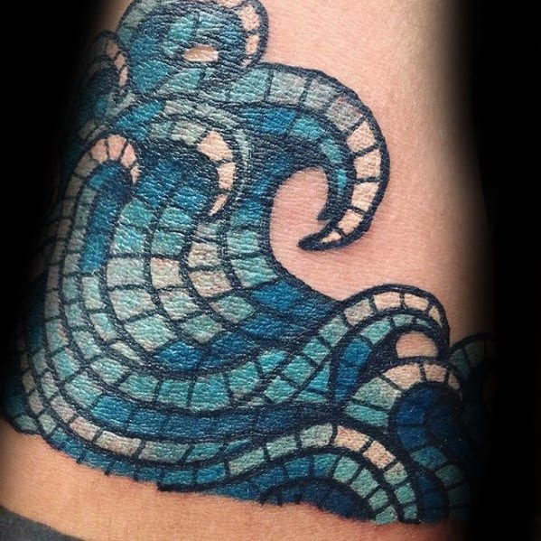 Mens Cool Ocean Wave Forearm Mosaic Tattoo Ideas
