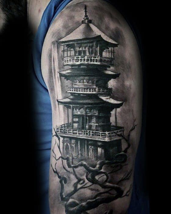 Mens Cool Pagoda Tattoo Ideas
