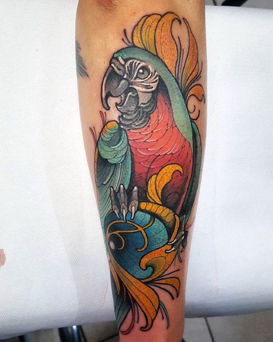 Mens Cool Parrot Tattoo Ideas Outer Forearm