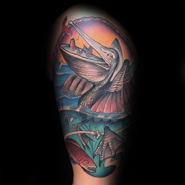 Mens Cool Pelican Tattoo Ideas Half Sleeve