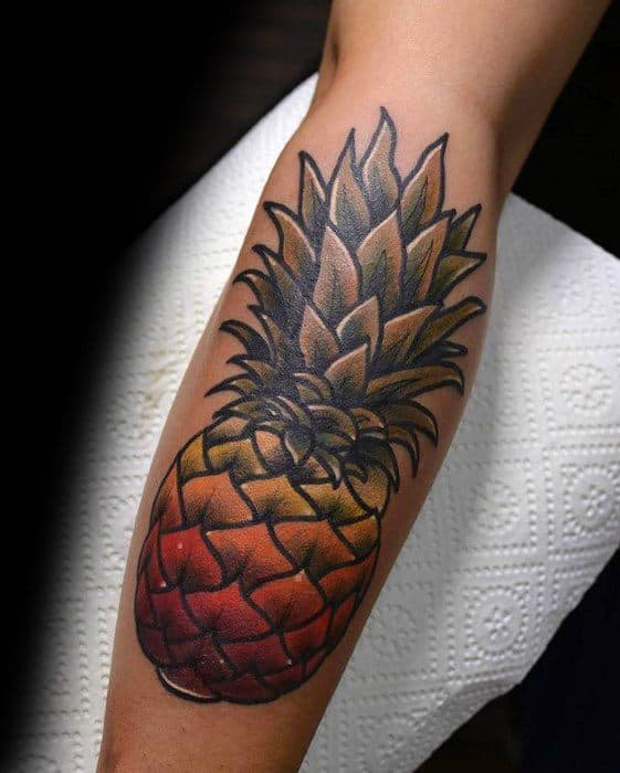 Mens Cool Pineapple Leg Tattoo Design Inspiration