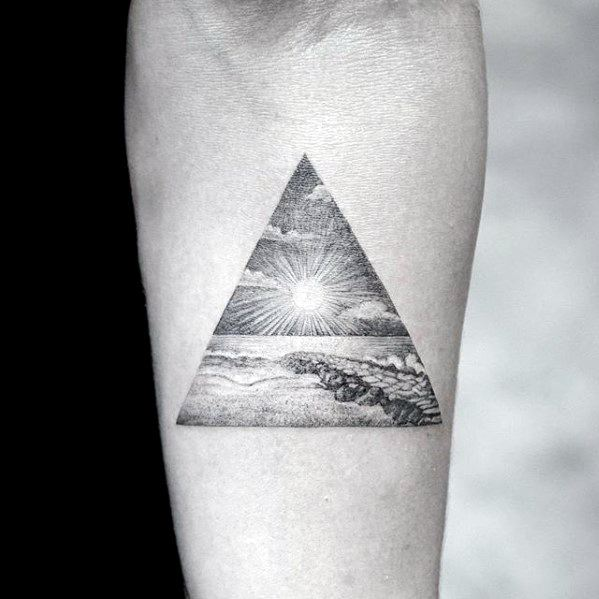 Mens Cool Quarter Sized Triangle With Ocean Beach Inner Forearm Tattoo Ideas