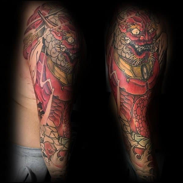 Mens Cool Raijin Tattoo Design Inspiration