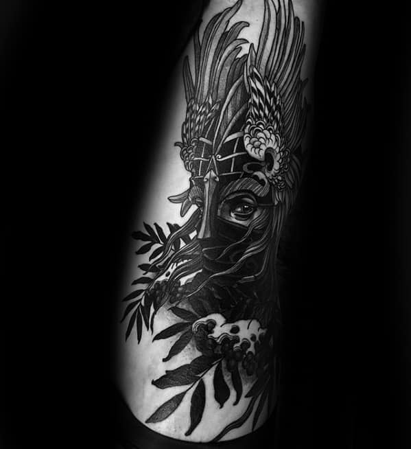 Mens Cool Ribs Valkyrie Tattoo Design Inspiration