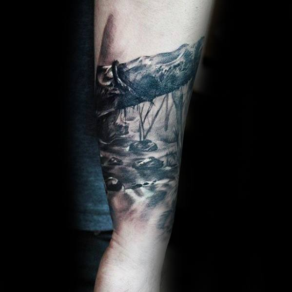 Mens Cool River 3d Forearm Band Tattoo Ideas