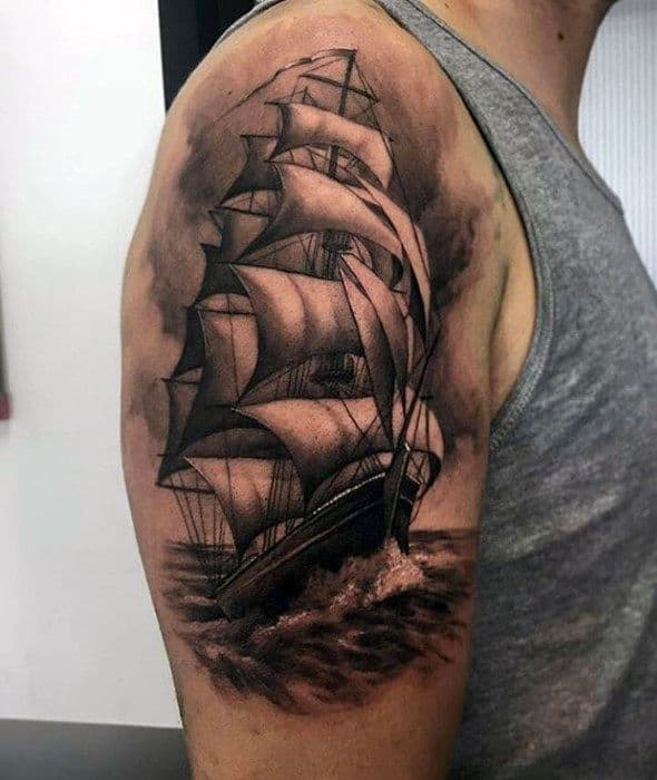 Mens Cool Sailing Ship Arm Greatest Tattoo Ideas