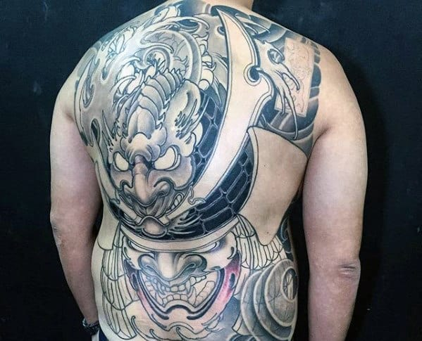 Mens Cool Samuari Helmet Back Tattoo With Japanese Design