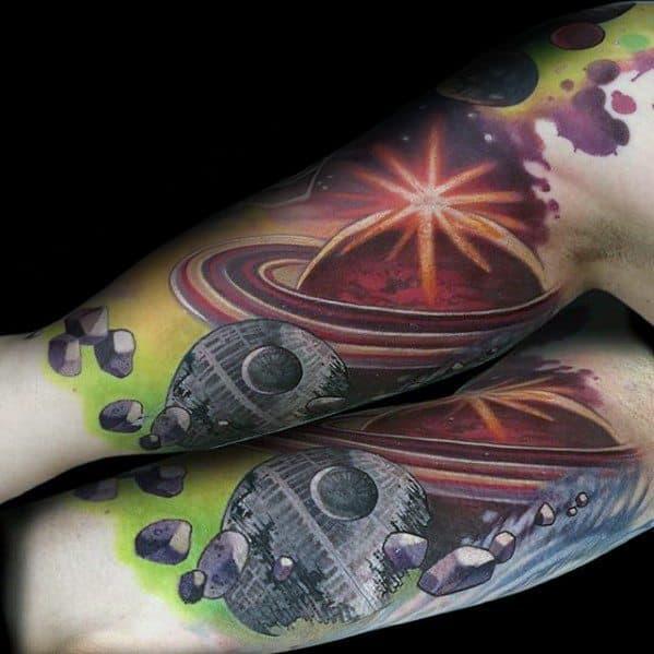 Mens Cool Saturn Tattoo Design Inspiration