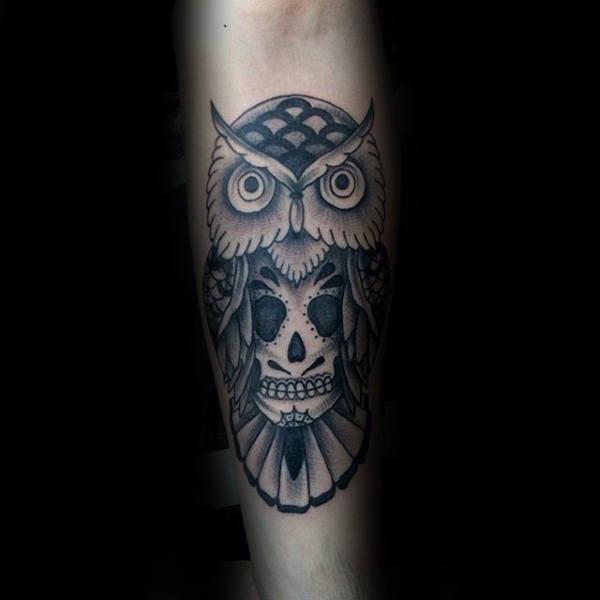 Mens Cool Shaded Black And Grey Ink Owl With Skull Traditional Tattoo Design Ideas