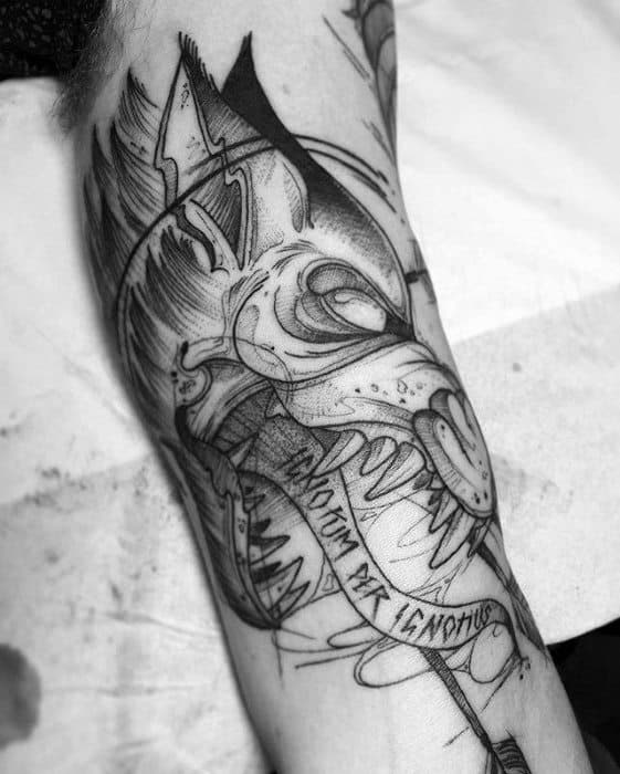 Mens Cool Sick Wolf Tattoo Ideas On Inner Arm Bicep