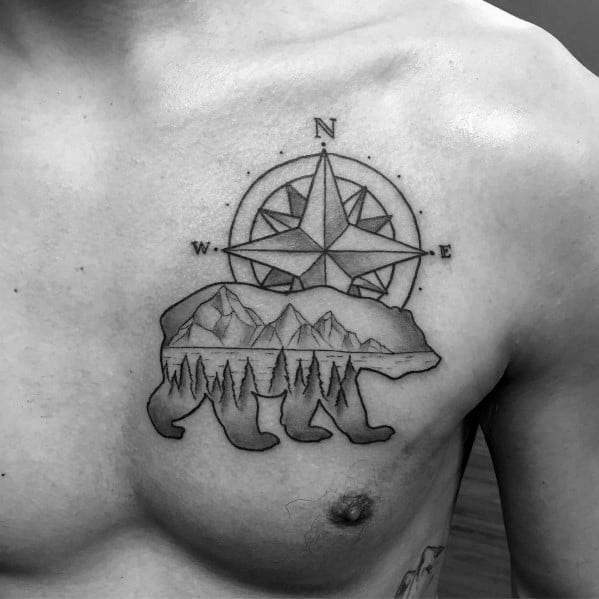 Mens Cool Simple Bear And Compass Tattoos On Chest