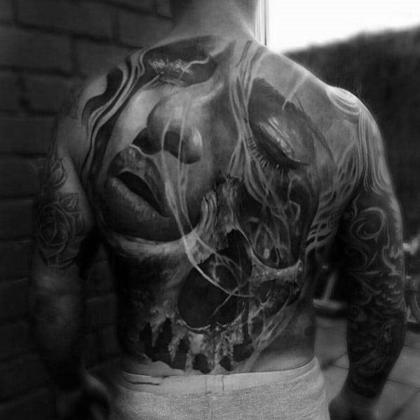 Mens Cool Skull Back Tattoo Ideas