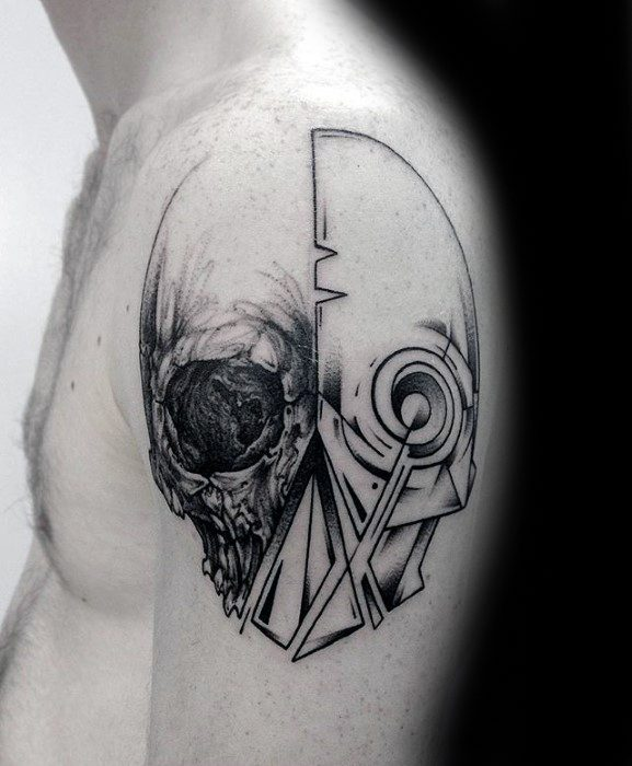 Mens Cool Skull Outline Tattoo Ideas