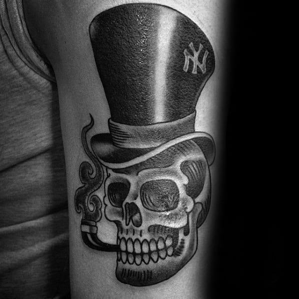 Mens Cool Skull With Top Hat Tattoo Ideas On Arm