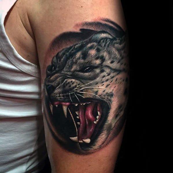 Mens Cool Snow Leopard Tattoo Ideas