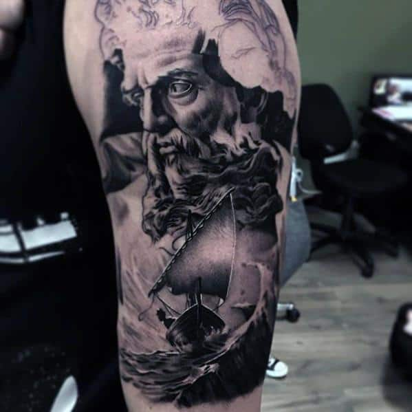 Mens Cool Socrates Arm 3d Tattoo Ideas