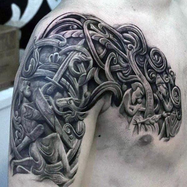 Mens Cool Stone 3d Decorative Arm Tattoo