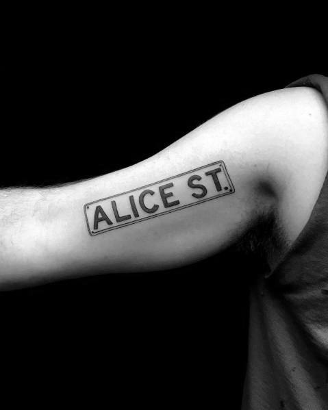 Mens Cool Street Sign Tattoos