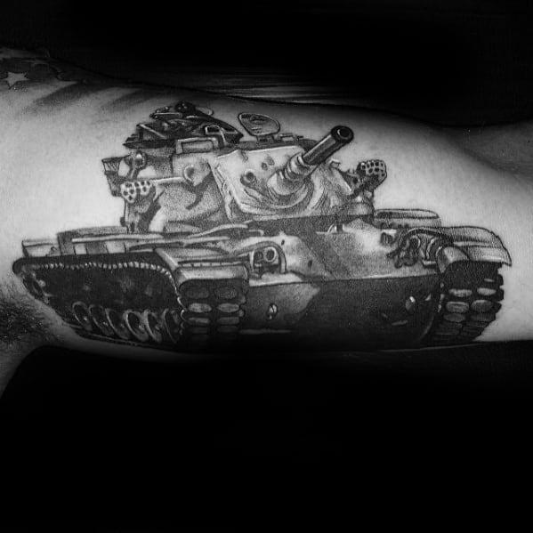 Mens Cool Tank Tattoo Design Inspiration