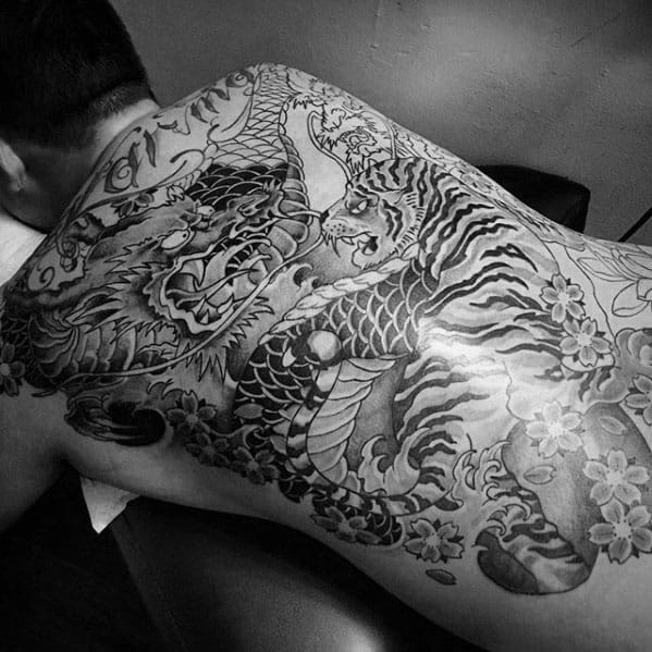 Mens Cool Tiger Dragon Tattoo Ideas On Back