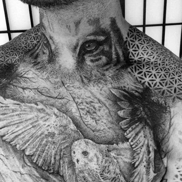 Mens Cool Tiger Eyes Tattoo Ideas On Neck