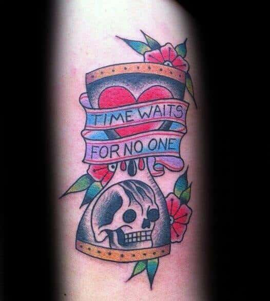 Mens Cool Time Waits For No Man Tattoo Ideas
