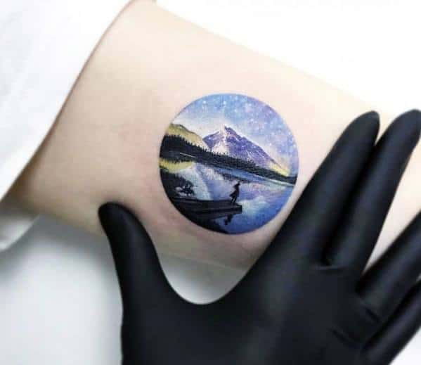 Mens Cool Tiny Detailed Lake Tattoo Ideas