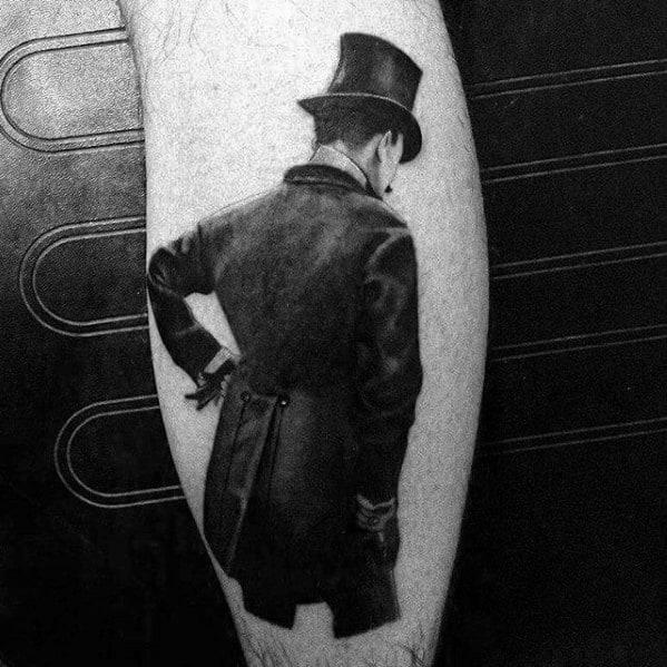 Mens Cool Top Hat Tattoo Ideas On Leg Calf