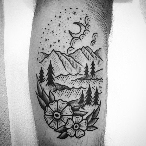 Mens Cool Traditional Mountain Tattoo Ideas
