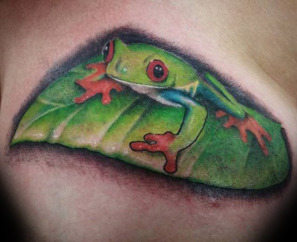 Mens Cool Tree Frog Tattoo Ideas Upper Chest