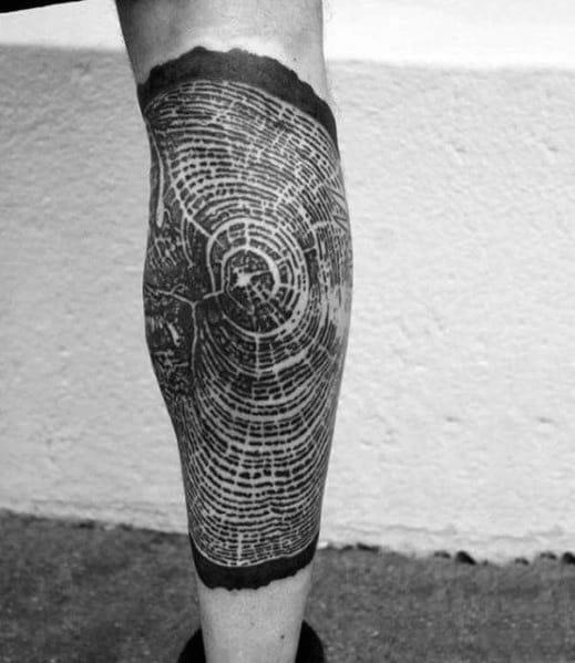Mens Cool Tree Stump Detailed Leg Tattoos