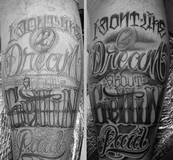 Mens Cool Typography Tattoo Design Inspiration Leg