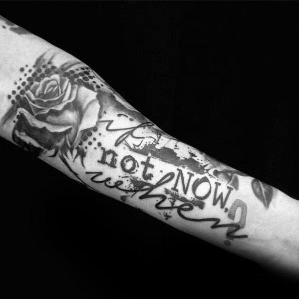 Mens Cool Typography Tattoo Ideas Inner Forearm