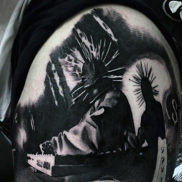 Mens Cool Upper Arm Slipknot Tattoo Ideas