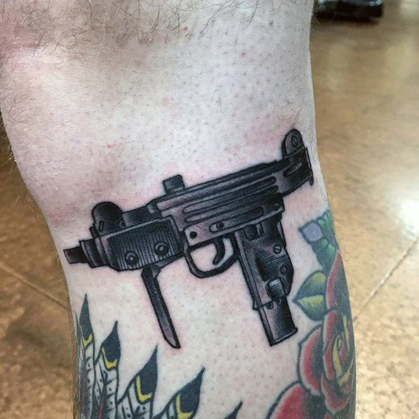 Mens Cool Uzi Firearm Tattoos