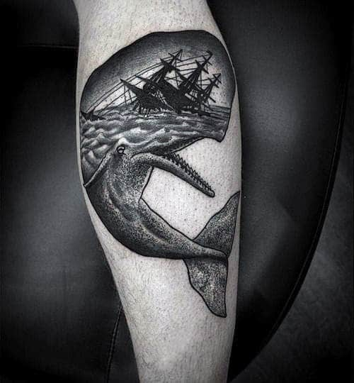 Mens Cool Whale Shipwreck Tattoo Ideas