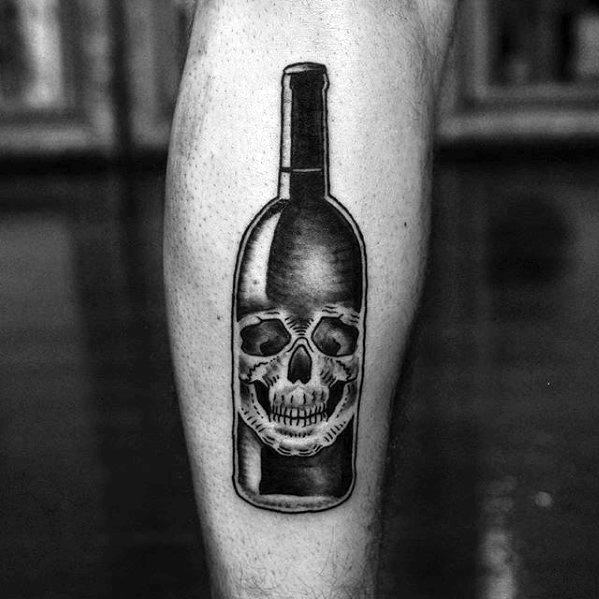 Mens Cool Wine Skull Bottle Leg Tattoo Ideas