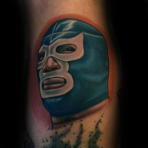 Mens Cool Wrestling Mask Tattoo On Leg Calf Ideas