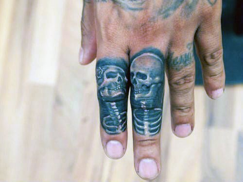 Mens Couple Knuckle Tattoos With Skeletons