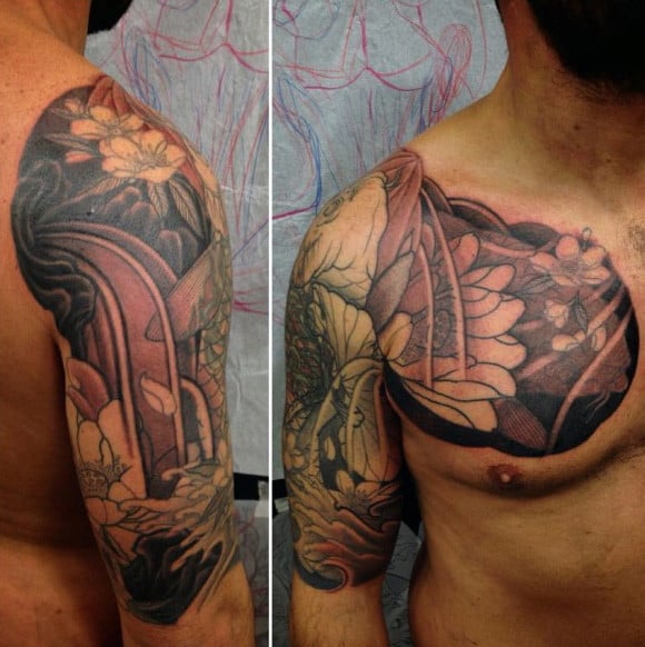 Mens Cover Up Lotus Flower Tattoo Half Sleeve