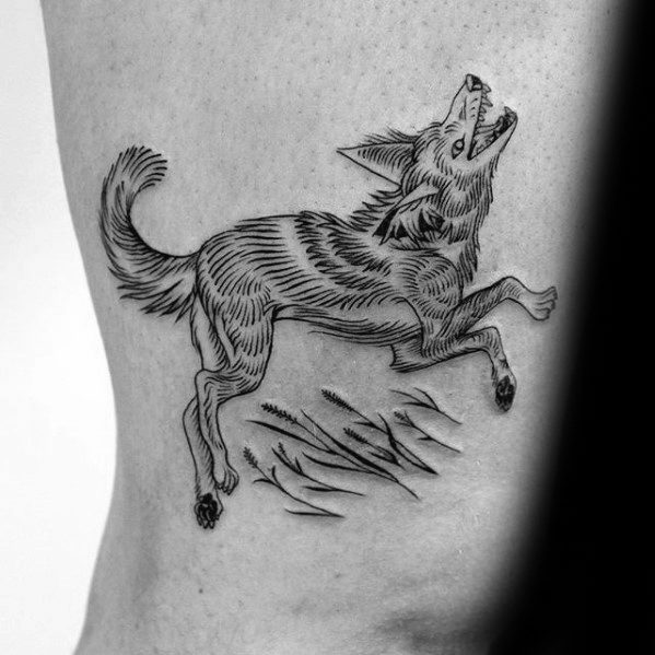Mens Coyote Tattoo Ideas On Thigh Of Legs