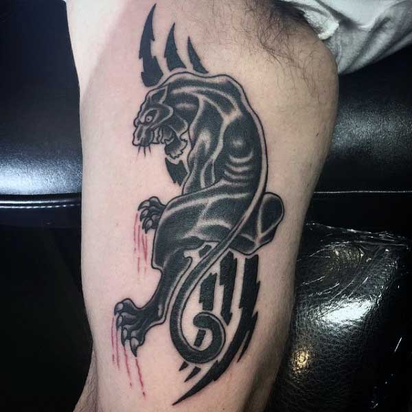 Mens Crawling Panther Tattoo On Bicep