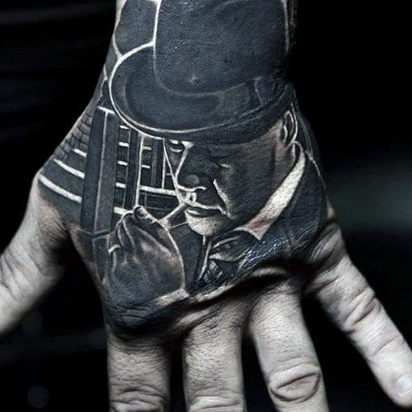 Mens Crazy Realistic Mobster Hand Tattoo Design With Shaded Ink