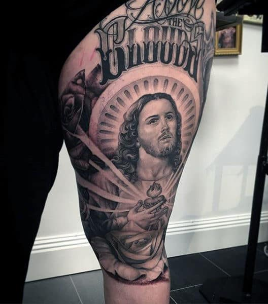 Mens Creative Jesuse Thigh Tattoo Ideas With Lettering