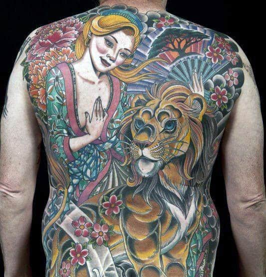 Mens Creative Lion Back Tattoo Designs