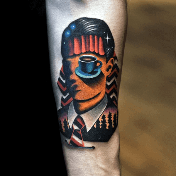 Mens Creative Twin Peaks Forearm Tattoos