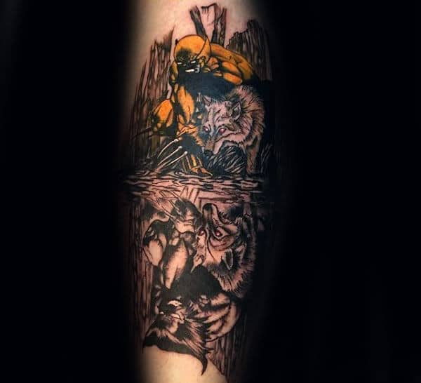 Mens Creative Wolverine With Wolves Forerm Sleeve Tattoo