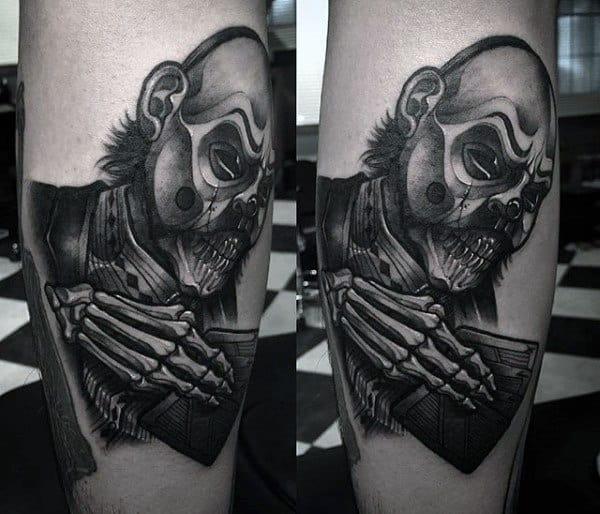 Mens Creepy Skeleton Hand Figure Leg Tattoos